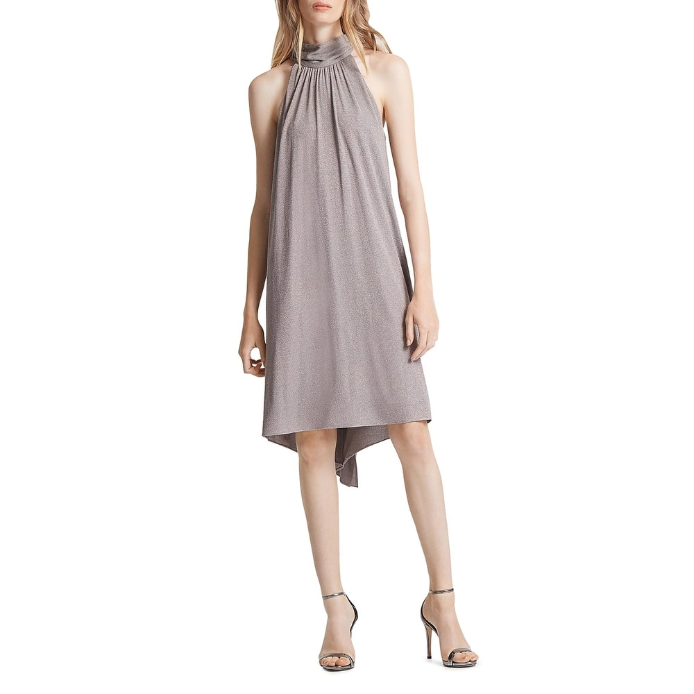Halston Womens Cocktail Dress Knit Cowl Neck - Taupe