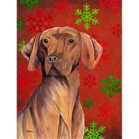 11 x 15 in. Vizsla Red and Green Snowflakes Holiday Christmas