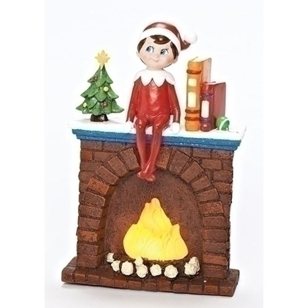 """6.75"""" LED Lighted Elf on Fireplace Battery Operated Table Top Christmas Decoration - RED"""