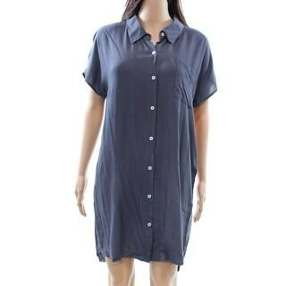 Allen Allen NEW Flint Gray Womens Size Medium M One Pocket Shirt Dress