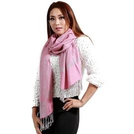"Jacquard Knit Pashmina Wool Silk Fashion Wrap Scarf, 27""x70"", Pink"