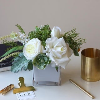 Mademoiselle White Rose Greenery Floral Centerpiece - Green
