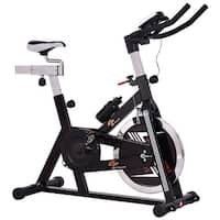 Costway Adjustable Exercise Bike Bicycle Cycling Cardio Fitness LCD w/ 40lb Flywheel - Black