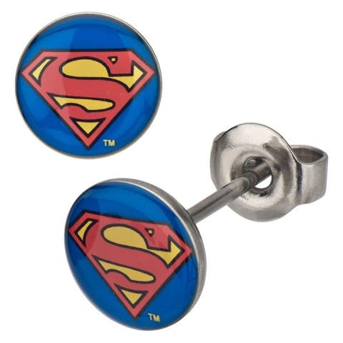 DC Comics Superman Logo Stainless 8mm Stud Earrings - Blue
