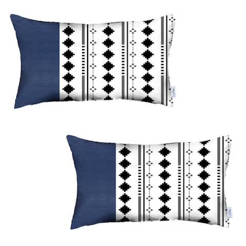 Set of 2 Diamond and Navy Blue Faux Leather Lumbar Pillow Covers