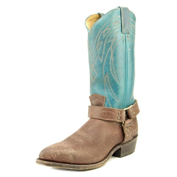 Frye Billy Harness Women Round Toe Leather Blue Western Boot