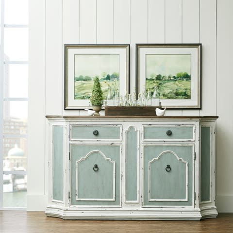 Blue and Distressed White 4-door Sideboard