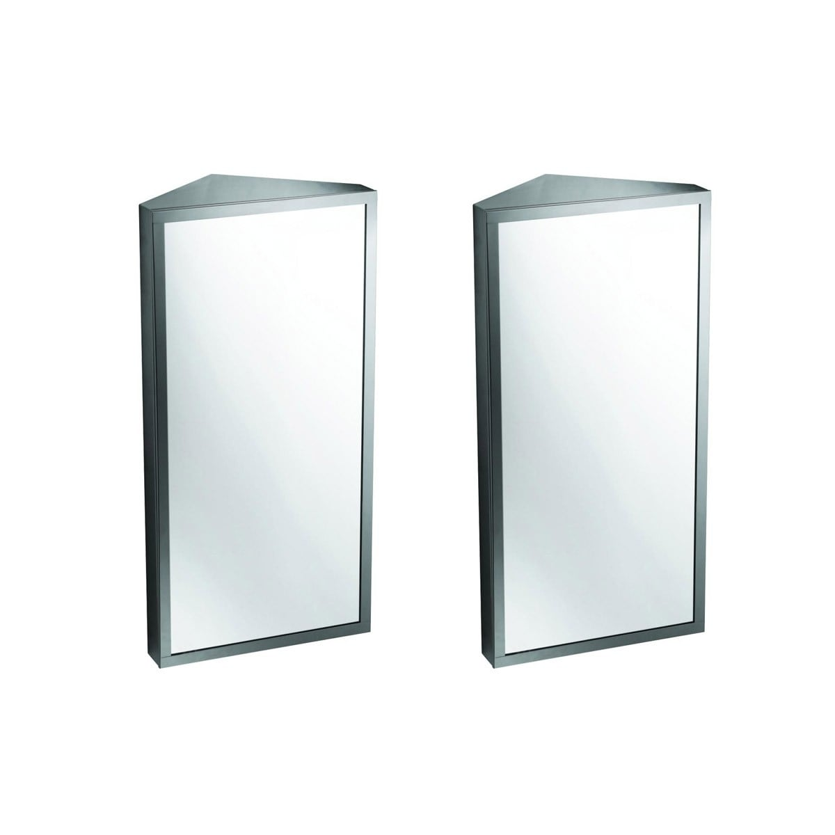 Picture of: Steel Corner Wall Mount Medicine Cabinet Brushed Finish Set Of 2 On Sale Overstock 18085822