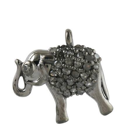 925 Sterling Silver Diamond Elephant Charms Jewelry