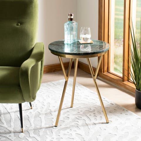 "SAFAVIEH Coletta Marble Accent Table - Dark Green - 18"" x 18"" x 23"""