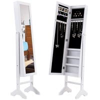 Gymax White Mirrored Jewelry Cabinet Armoire Storage Organizer Box Light