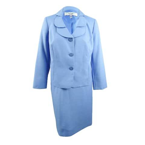 Le Suit Women's Plus Size Shawl-Collar Skirt Suit - Bel Air Blue
