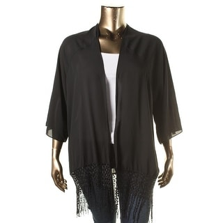 Ingo Womens Plus Georgette Crochect Cardigan Top - 2X