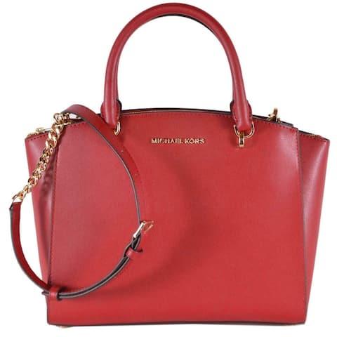 Michael Kors Scarlet Red Large Ellis Saffiano Leather Crossbody Purse