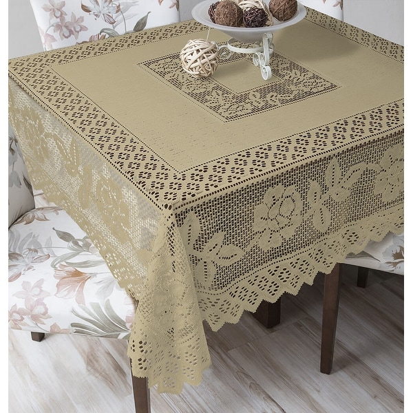Tablecloth Grega Design Brazilian Lace 59x59 Inches Ocher (Light Brown) Color 100 Percent Polyester