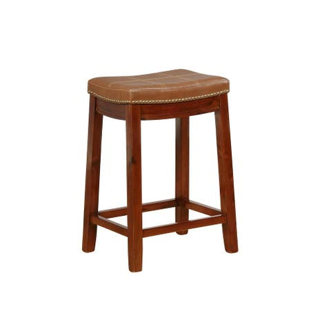 Faux Leather Upholstered Counter Stool with Nailhead Trim, Brown - 26 H x 18.4 W x 14.3 L Inches
