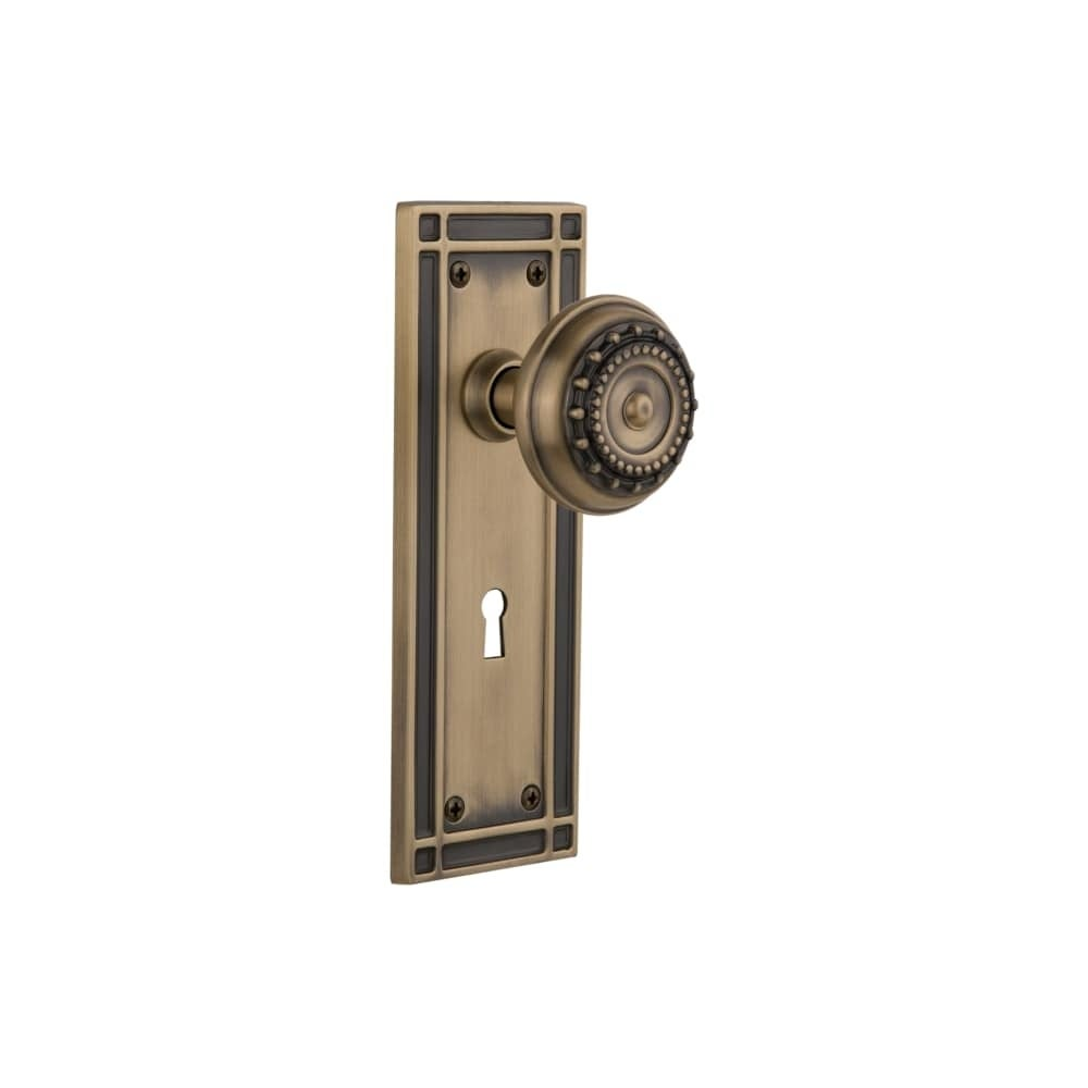 Nostalgic Warehouse MISMEA_MRT_238_KH  Meadows Solid Brass Skeleton Keyed Entry Mortise Handleset with Mission Rose, Keyhole and (Antique Brass)