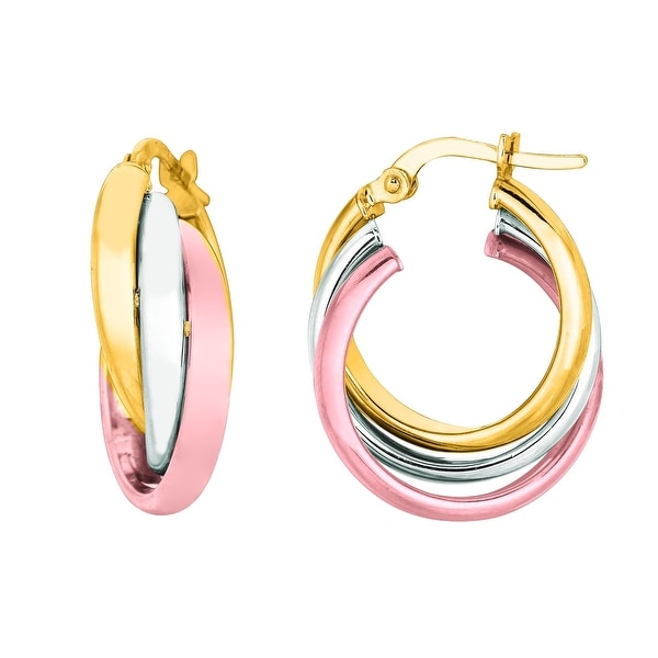 Mcs Jewelry Inc 14 KARAT THREE TONE, YELLOW GOLD, WHITE GOLD, ROSE GOLD, TRIPLE HOOP EARRINGS (DIAMETER: 20MM) - Tricolor