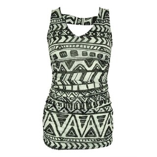 INC International Concepts Women's Sleeveless Ruched Top - aquatic tribal