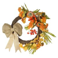 Fall leaves and Burlap Bow Artificial Thanksgiving Wreath - 20-Inch, Unlit - Orange
