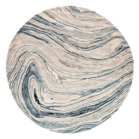 Hammet Handmade Abstract Blue/ Gray Area Rug
