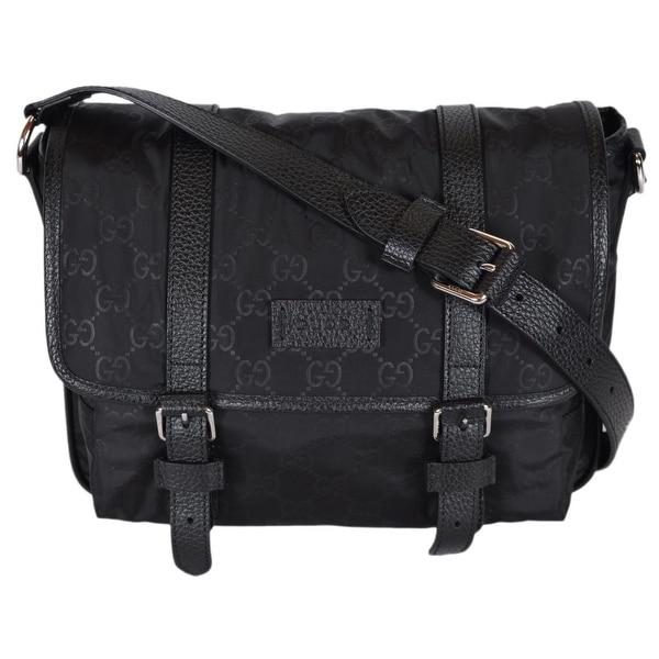 ab70b3434121 Gucci Crossbody Messenger Bag Purse. Vintage Gucci Black Signature ...
