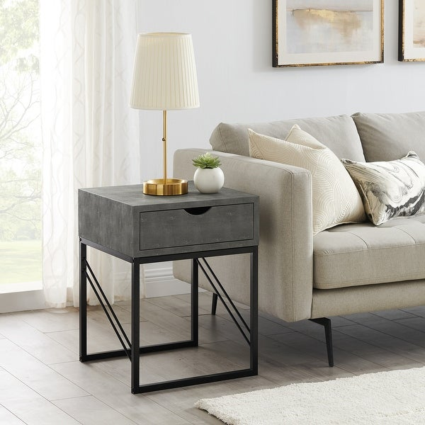 Carson Carrington 1-Drawer Faux Shagreen Side Table. Opens flyout.