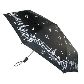 CTM® Women's Auto Open and Close Color Changing Music Note Print Compact Umbrella - Black - One Size