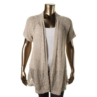 Eileen Fisher Womens Plus Linen Short Sleeves Cardigan Sweater