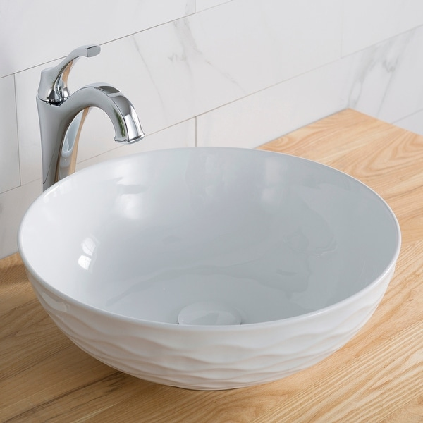 KRAUS Viva Round White Porcelain Ceramic Vessel Bathroom Sink w Drain. Opens flyout.