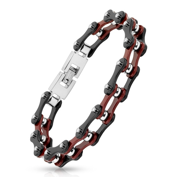 Motorcycle Chain with Black Outer/Burgundy Inner Plate Link 316L Stainless Steel Bracelet (13.3 mm) - 9 in