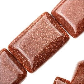 Goldstone Natural Gemstone Strands, Rectangle 13x18mm, 15 Inch Strand, Copper Sparkle