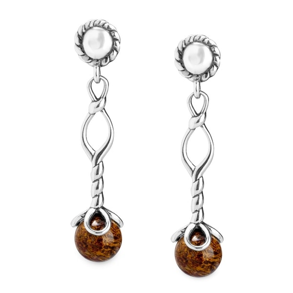 American West Pietersite Drop Earrings in Sterling Silver - Brown