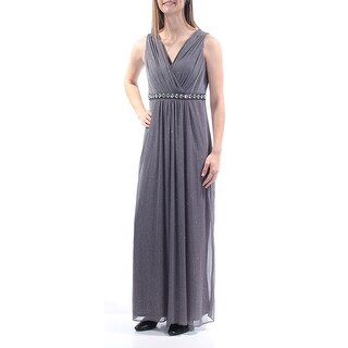 Womens Gray Sleeveless Full-Length Formal Dress Size: 8