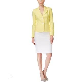 Le Suit NEW Yellow White Women's Size 14 Colorblock Skirt Suit Set