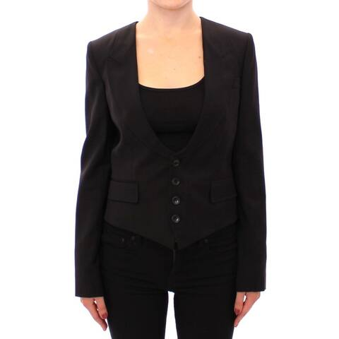 Dolce & Gabbana Black Silk Scarf Back Blazer Women's Jacket - it40-s