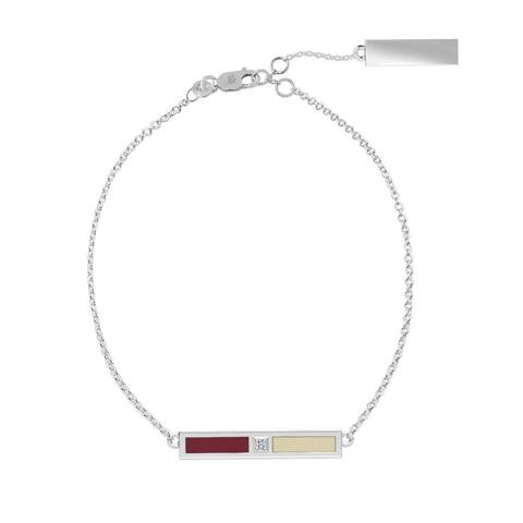 Boston College Sterling Silver Diamond Bar Chain Bracelet in Red & Tan