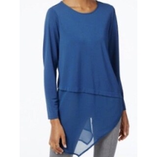 Alfani Women's Asymmetrical Layered Blouse, Blue , Size PM
