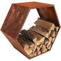Sunnydaze Heavy-Duty 30 Inch Hexagon Rustic Honeycomb Log Rack - Bronze
