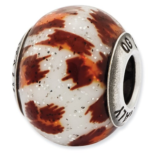 Italian Sterling Silver Reflections Orange & Brown with Glitter Glass Bead