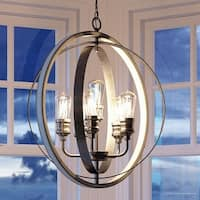 "Luxury Vintage Pendant Light, 30.75""H x 28""W, with Modern Farmhouse Style, Galvanized Steel Finish by Urban Ambiance"
