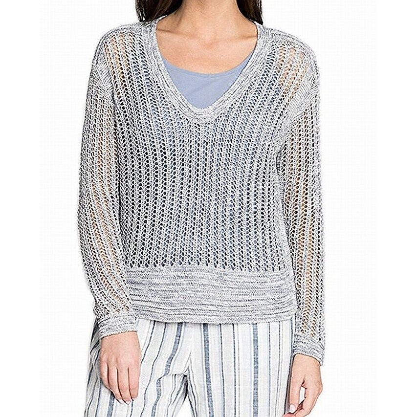 NIC+ZOE Womens Heathered Scoop Neck Pullover Sweater