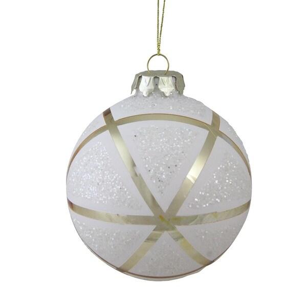"4"" (100mm) Gilded White Christmas Geometric Glass Christmas Ball Ornament"