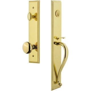 "Grandeur CARSGRFAV_ESET_234  Carre Solid Brass Rose Keyed Entry Single Cylinder ""S"" Grip Handleset with Fifth Avenue Knob and"