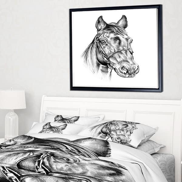 Designart Freehand Horse Head Pencil Drawing Animal Framed Canvas Art Print Overstock 18945690