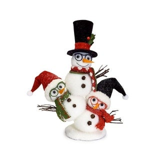 """Pack of 4 Snow White and Red Stacked Snowman Christmas Floor Decoration 13"""""""