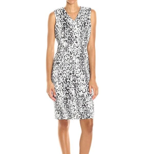 Shop Calvin Klein New White Black Womens Size 4 Animal Print Sheath