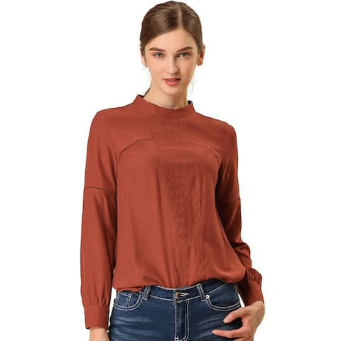 Women's Embroidery Floral Peasant Blouse Crew Neck Boho Shirts Tops