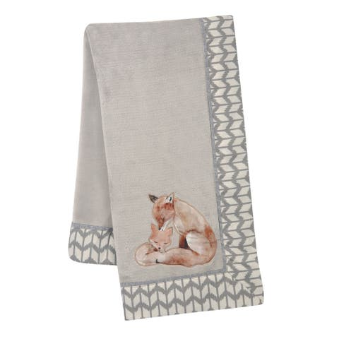 Lambs & Ivy Painted Forest Fox Coral Fleece Baby Blanket - Gray