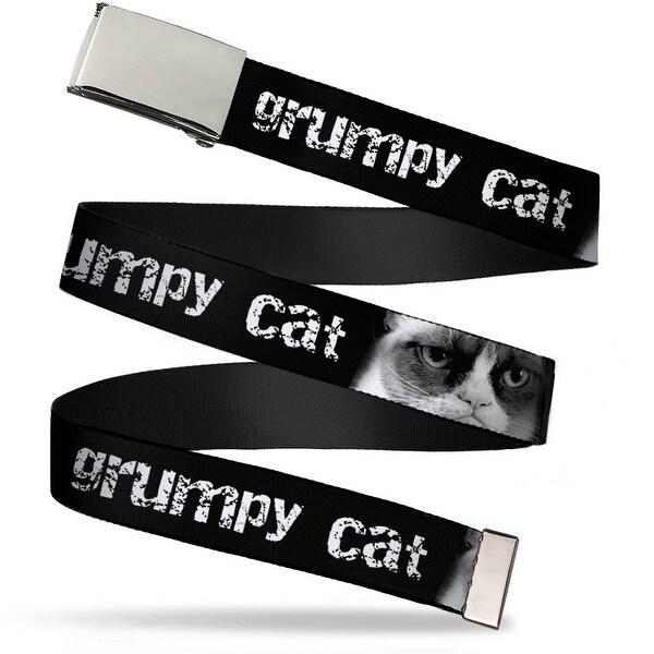 "Blank Chrome 1.0"" Buckle Grumpy Cat W Face Close Up Black White Webbing Web Web Belt 1.0"" Wide - S"